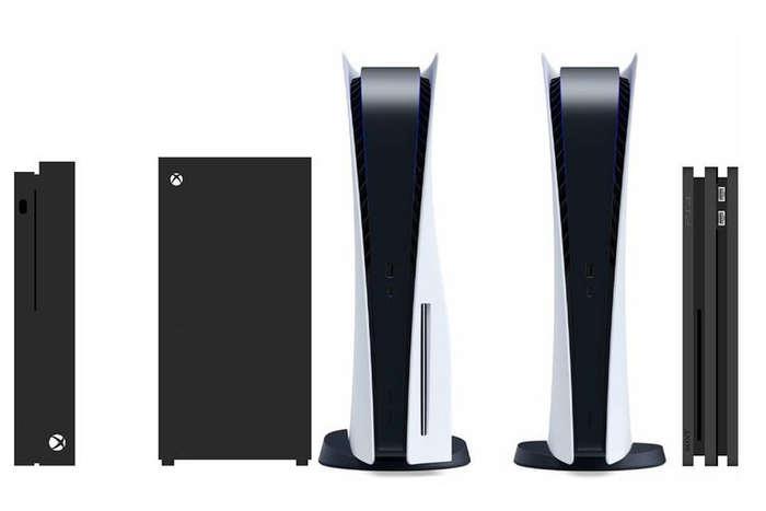 Perbandingan ukuran PlayStation 5 dengan konsol lain. Dari kiri ke kanan: Xbox One X, XBox Series X, PS5, PS5 Digital Edition, dan PS4. (TWITTER/@EvilBoris)