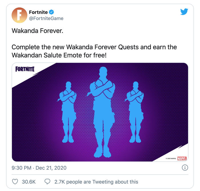 Fortnite Game. Twitter. Wakanda Salute Emote