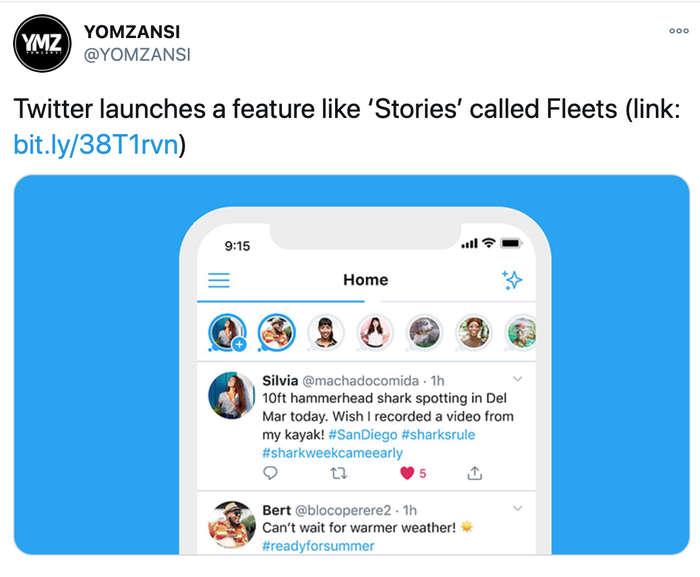 Fleets, Twitter.