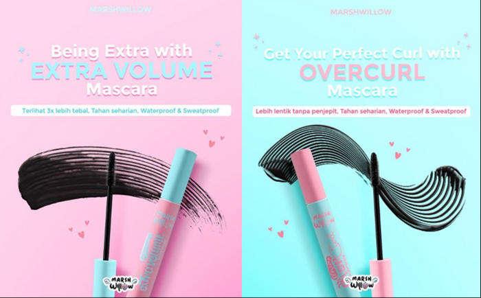Extra Volume Mascara dan Overcurl Mascara yang anti smudge dan waterproof (Instagram/marshwillow.official)